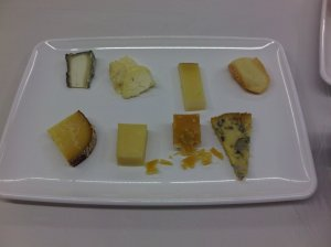 Top (from left to right - how we tasted): Selles-Sur-Cher, La Tur, Stanser Schafkase, Gres de Vosges; Bottom (also from left to right): Mahon, Beecher's Flagship Reserve, Roomano Gouda, Jasper Hills Bayley Hazen Blue