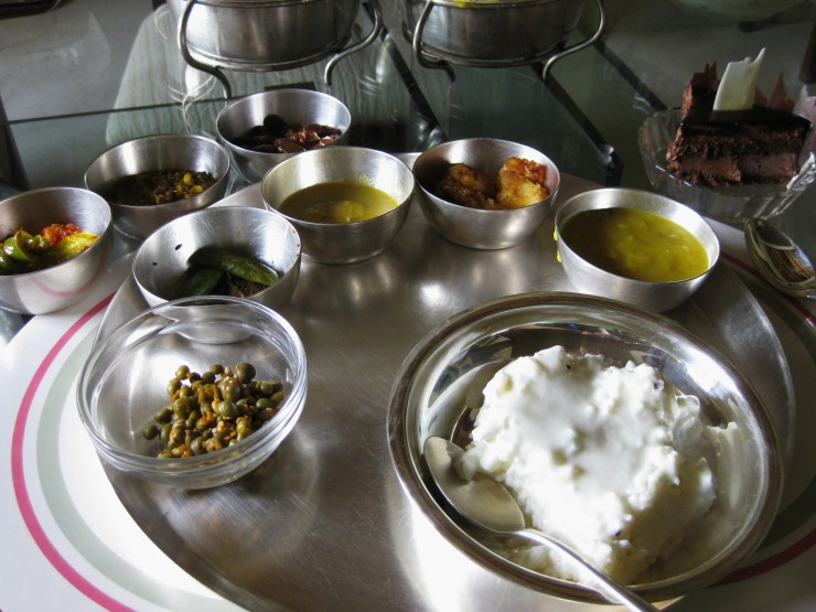 I first was first introduced to yogurt rice (bottom right bowl) at a mid-afternoon lunch at Mukund's house in Cal and immediately fell in love.