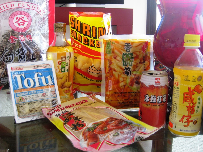 """Shrimp chips, all time favorite. The rice noodles were 69 cents per pack on sale. Need I say more? The iced tea with lemon was quenching, but the """"mandarin salt"""" flavor iced tea with honey, a whole new level."""