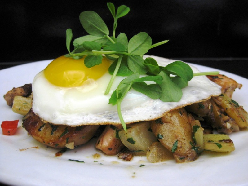 wild salmon-fennel hash with an organic fried egg ($8)